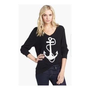 [Wildfox] Anchor Graphic Slouchy V-neck